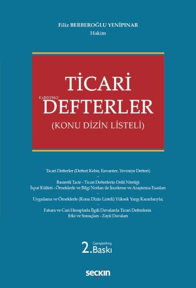 Ticari Defterler;Konu Dizin Listeli