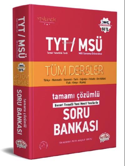 TYT - MSÜ Tüm Dersler Tamamı Çözümlü Soru Bankası