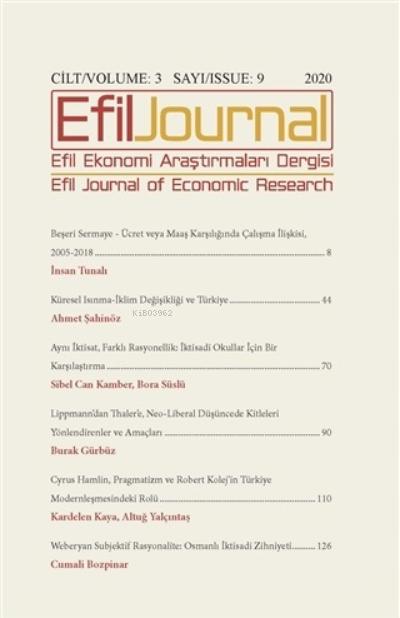 Efil Ekonomi Araştırmaları Dergisi Cilt: 3 Sayı: 9 2020