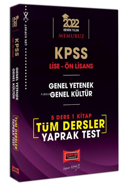 2022 KPSS Lise Ön Lisans GY GK 5 Ders 1 Kitap Tüm Dersler Yaprak Test