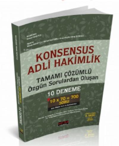 Konsensus Adli Hakimlik Tamamı Çözümlü 10 Deneme Savaş Yayınları Eylül 2021