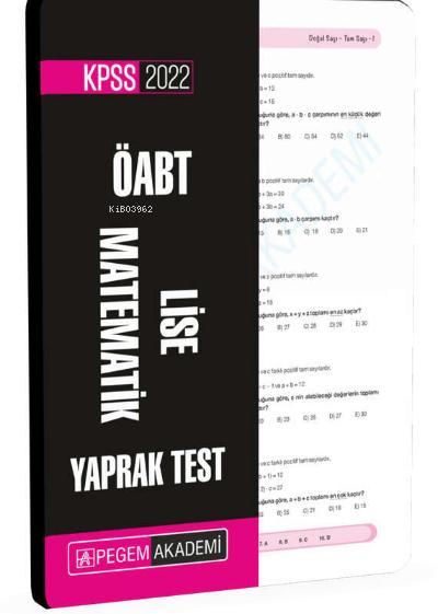 2022 KPSS ÖABT Lise Matematik Yaprak Test