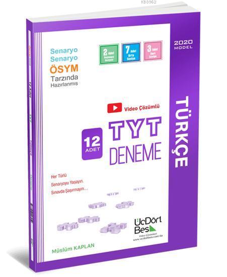 Üç Dört Beş Yayınları TYT Türkçe 12 Adet Deneme Üç Dört Beş