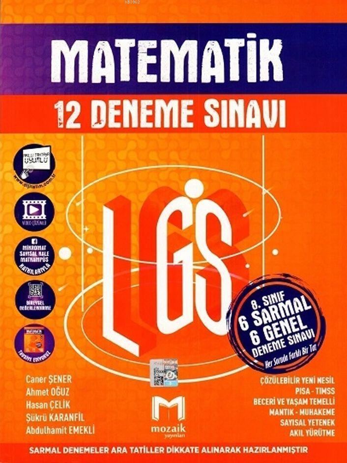 Mozaik Yayınları 8. Sınıf LGS Matematik 12 Deneme Sınavı Mozaik